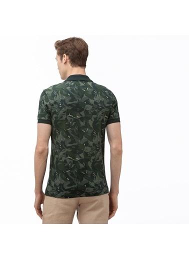 Lacoste Erkek Slim Fit Desenli Tişört PH0061.61H Yeşil